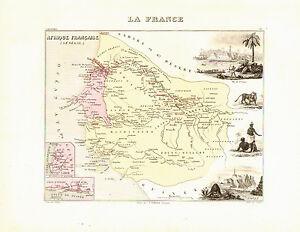 Carte Du Senegal, Vers 1874. Migeon, Afrique