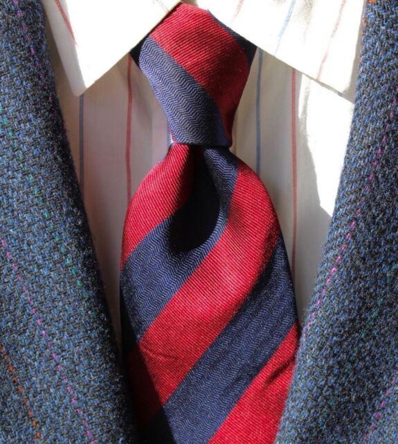 XMI / Nordstrom Gentleman's Navy Blue & Red Striped Silk Necktie - Italy / USA