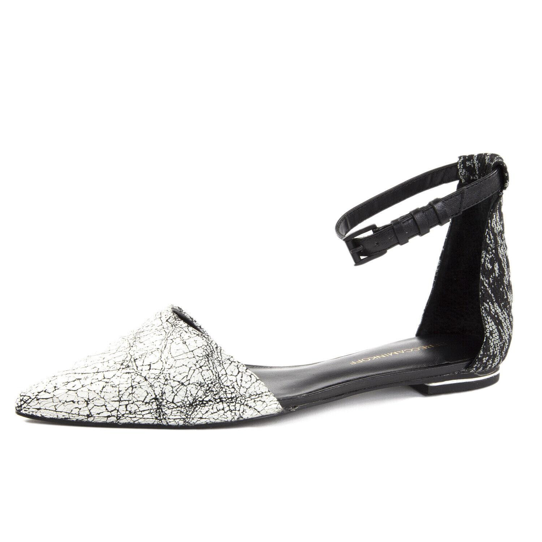 REBECCA MINKOFF Women's Felix Creme & Black Leather Flats  195 NIB