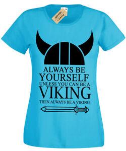 Toujours-Etre-un-Viking-T-Shirt-femme-Big-Print-Ragnar-Femme-Odin-drole-Top-Norse