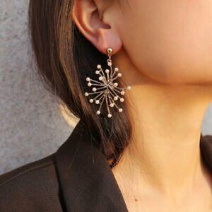 Boho Vintage Pearl 925 Silver Earrings Women Classy Ear Hook Dangle Drop Jewelry