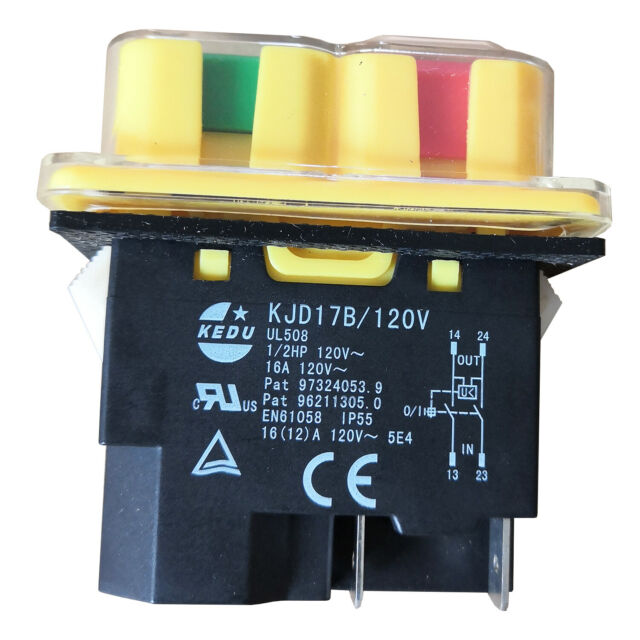 KEDU KJD17B//120V 4Pin 120V 16A 1//2HP Waterproof Industrial Pushbutton Switches