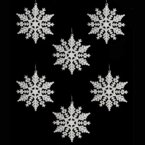 53602 Christmas Glitter Silver Snowflakes Tree Decorations 6 Pack