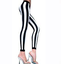 Black & White Vertical Stripe Footless Tights Goth Punk Alternative Circus Freak