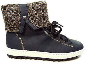 Rieker Damenschuhe Stiefel Stiefeletten Boots Y8443 14 Blau Beige