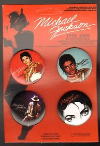 MICHAEL-JACKSON-BUTTON-BADGE-PACK-OF-4-1958-2009-SEALED-NEW-IN-PACKAGE