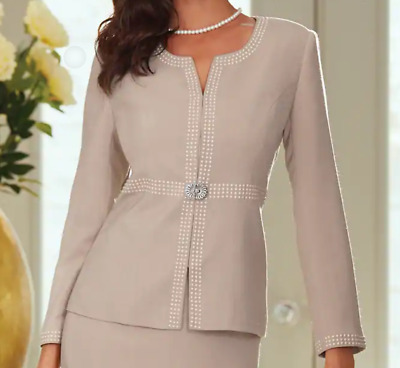 Animal Print Skirt Suit Midnight Velvet Work Career Church Dress size 14 or 16