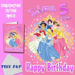 Image Is Loading DISNEY PRINCESSES PERSONALISED Birthday Card Daughter Sister Niece