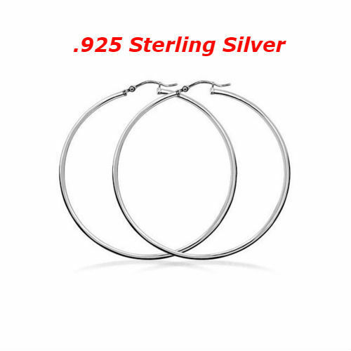 Sterling Silver 925 Stamped Italian Made 1 Inch Hoop Earrings French Hook Hoops