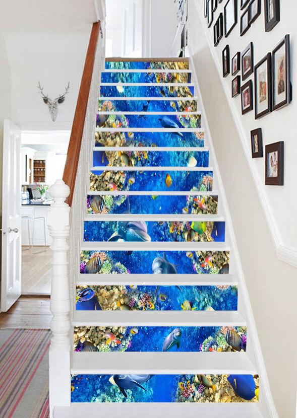 3D ocean fish stairs bleu Risers Decoration Photo Mural Vinyl Decal Wallpaper CA