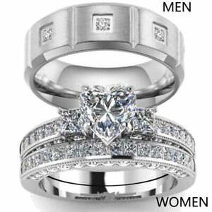 Couple-Rings-Titanium-Steel-CZ-Mens-Band-Ring-Heart-CZ-Women-039-s-Wedding-Ring-Sets
