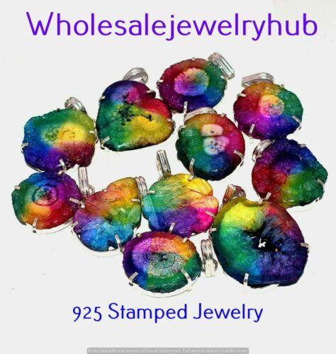 Rainbow Quartz Druzy 25 pcs Wholesale Lots 925 Sterling Silver Plated Pendants
