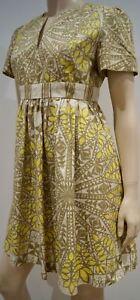 plissettato Abito Uk10 stampa See tunica in Chloe By giallo cotone geometrica beige Cream con qwZXT