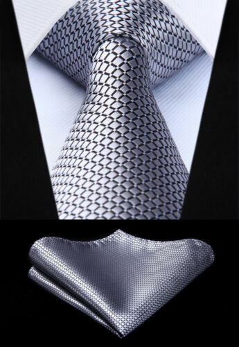 "Woven Men Tie Gray Check /& Plaid 3.4/"" Silk Tie Necktie Handkerchief Set#TC614A8S"