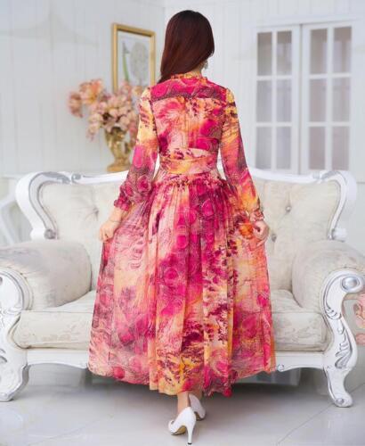 Womens Summer Bohemia Beach Long Maxi Dress Ladies Casual Floral Chiffon Skirt
