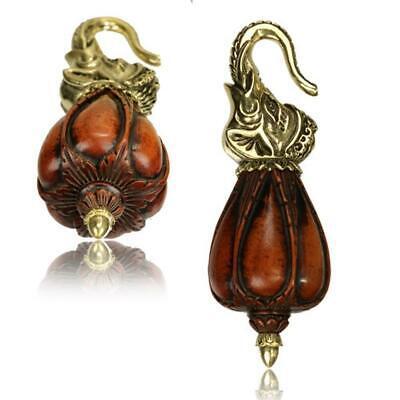Ohrgewichte Piercing Ganesha Om Brass antik golden Kupfer Inlay rotgolden 20 g