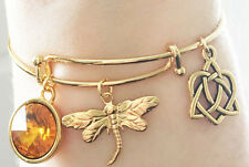 Outlander Gold Dragonfly Amber Celtic Knot Charm Bangle Bracelet Scottish Irish