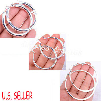 3 pair of Classic 925 Sterling Silver Round Large Hoop Earrings Jewelry Set S120
