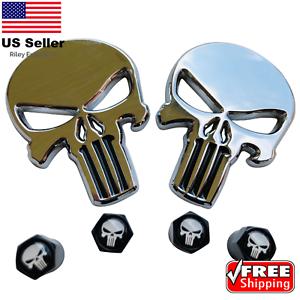 BUNDLE-Metal-Punisher-Decal-Sticker-Emblem-w-Matching-Wheel-Tire-Valve-Caps