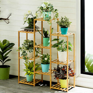 Multi-Tier-Bamboo-Plant-Stand-Planter-Rack-Flower-Pots-Holder-Display-US-Stock