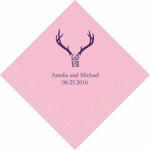 300 Love Antlers Rustic Western Personalized Wedding Cocktail Napkins