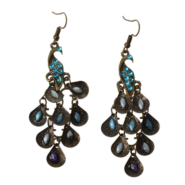 New Lady Vintage Retro Blue the Prancing Peacock Earrings P1X5 P8K4