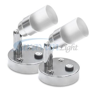 2X LED Mini Spot Light for Bed Reading Caravan Motorhome Bedside Wall Mounted