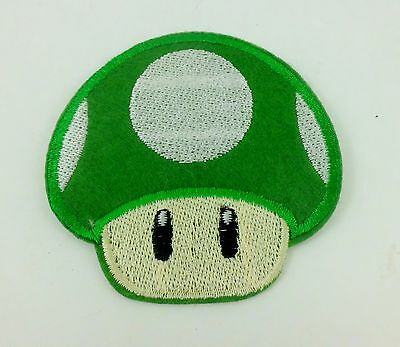 GREEN SUPER MARIO BRO MUSHROOM ANIME FUN PUNK ROCKABILLY IRON ON PATCH