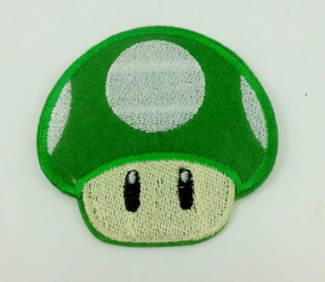 GREEN SUPER MARIO BRO MUSHROOM ANIME FUN PUNK ROCKABILLY IRON ON PATCH