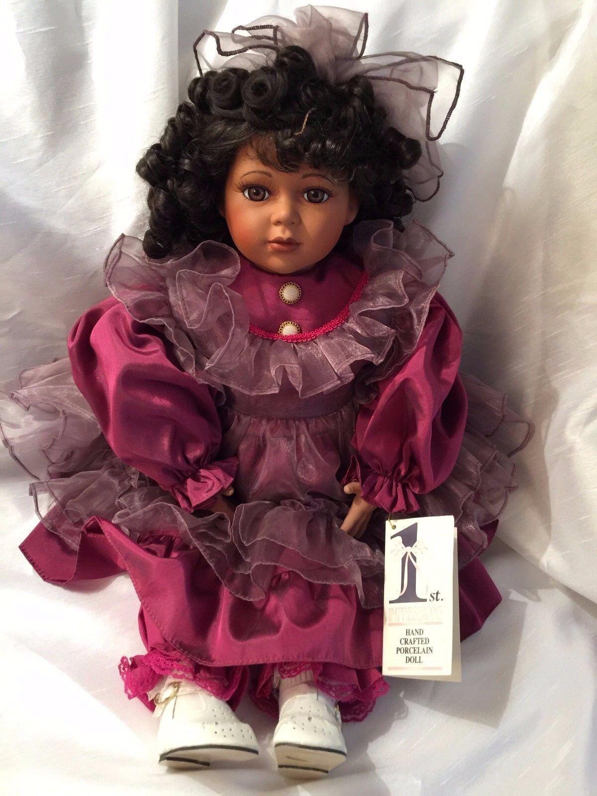 1ST impressioni Bambola di porcellana 21 pollici afroamericano Bellissimo Vestito