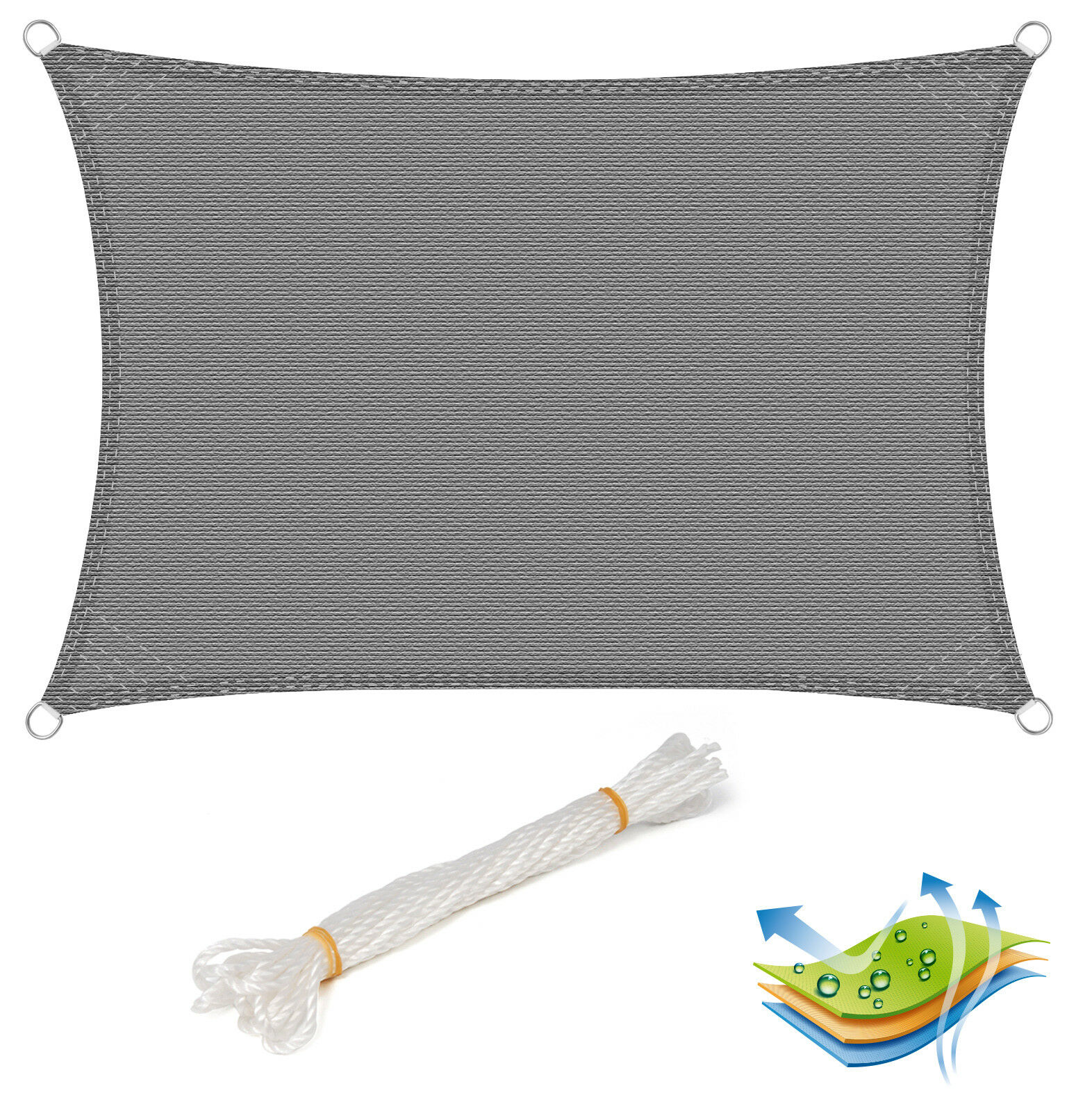 Sonnensegel Rechteck Sonnenschutz Sichtschutz UV-Schutz Atmungsaktiv HDPE Grau
