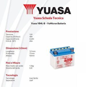 BATTERIA-MOTO-YUASA-YB4L-B-12V-4AH-Derbi-GP1-50-cc-anni-2001-gt-2003