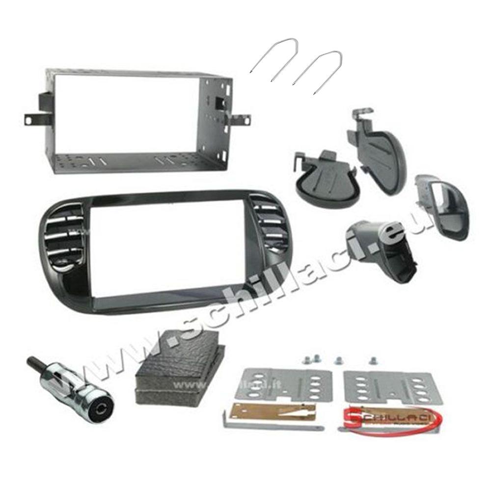 autoradio: Kit plancia mascherina autoradio 2 DIN Fiat 500 cinquecento nero lucido con bocc