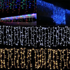 Image Is Loading Connected 3m 96led Xmas String Hanging Icicle Snowing