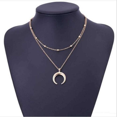 Women Crescent Moon Horn Boho Double Layer Choker Pendant Necklace Chain SC16
