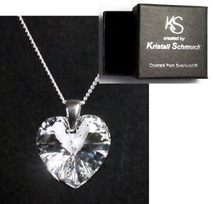 Silber-Hals-Kette-mit-Swarovski-Kristall-Herz-Original-Kristall-Schmuck-Etui