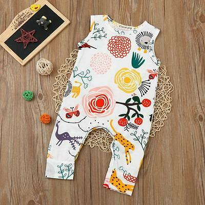 Toddler Baby Kid Boys Girls Flower Animal Print Romper Jumpsuit Outfits Clothes