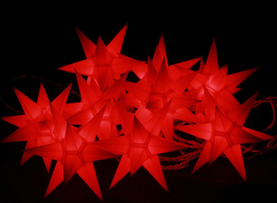 10er LED Sternenkette innen   außen Weihnachten rot Stern-Kette Lichterkette