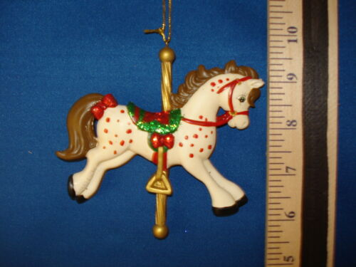 Carousel Horse Ornament White With Red Dots D0663D 74