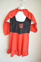 Girls Sz S Little Red Riding Hood Costume 2 Pc Dress Hooded Cape Small 4-6