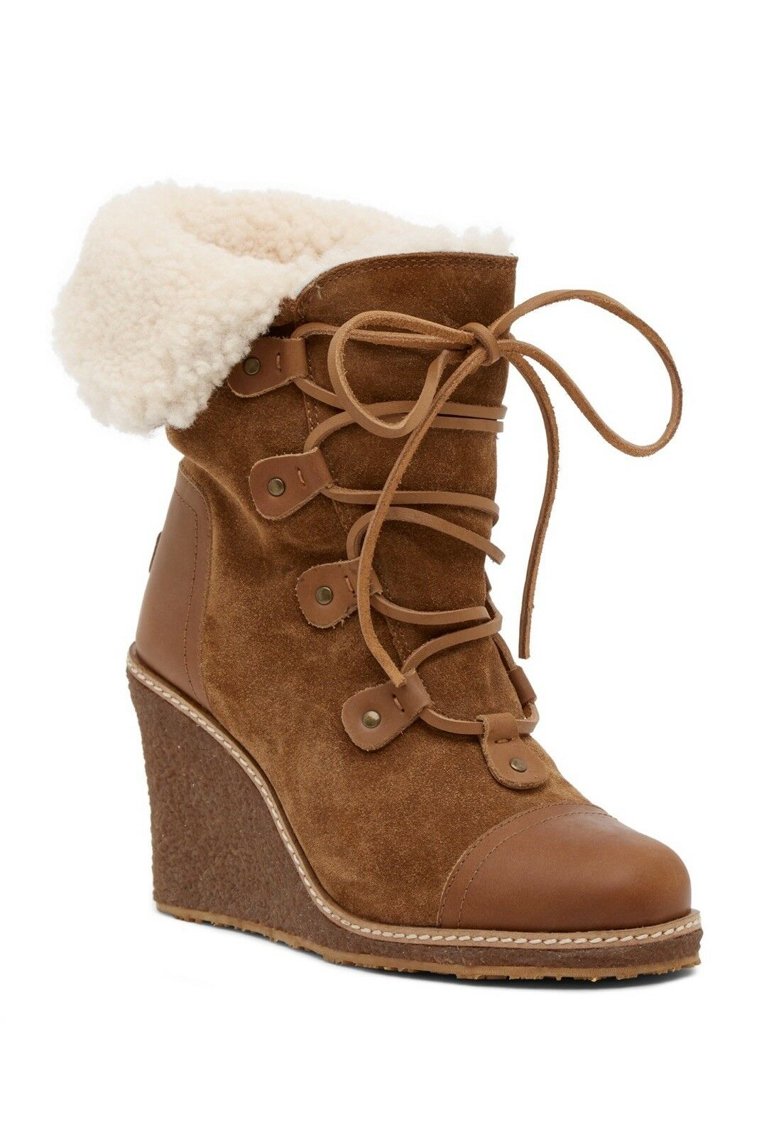 335 NEW Australia Luxe Collective Mona Genuine Shearling Wedge Boot Chestnut 10