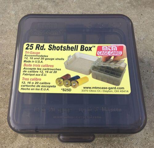 MTM Case-Gard S25D-41 Shotshell Box w//Flip Top for 25 Shotgun Cartridges 12 BORE