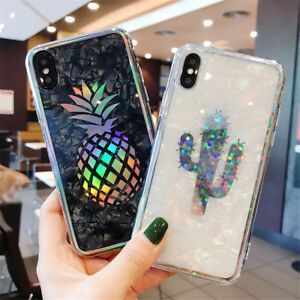 For-iPhone-XS-X-8-6s-7-Shockproof-Hybrid-TPU-Bling-Glitter-Pattern-Case-Cover