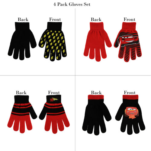 Ages 4-7 Disney 4 Pair Gloves or Mittens Cold Weather Set Little Boys