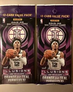 2019-2020 Panini illusions Basketball TWO (2)packs Cello Pack JA? ZION? NEW!
