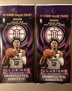 2019-2020-Panini-illusions-Basketball-TWO-2-packs-Cello-Pack-JA-ZION-NEW