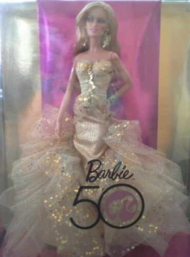 50th Anniversary Gold Glamour Barbie Collector Doll Robert Best NEW NRFB BEAUTY