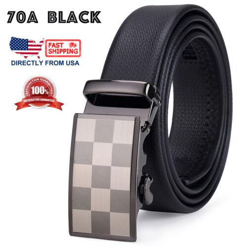 Men/'s Microfiber Leather Checker Board Pattern Automatic Ratchet Dress Belt