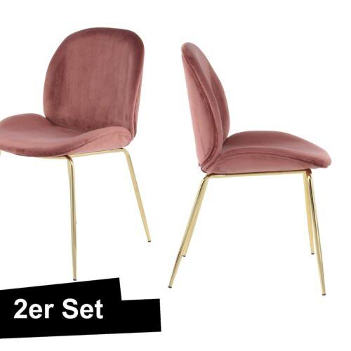 Velvet Chair Pink Gold 2er Set Dining Chair