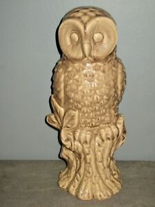 Grande-Chouette-en-ceramique-craquelee-marron-beige-brillante-H-34-cm